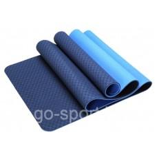 Антибактериальный коврик для йоги, фитнеса ECO-FRIENDLY TPE Yoga Mat, 8 мм